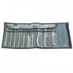 Hercules Sägemann 10er Kamm Set silber / Tasche grau
