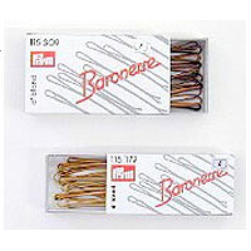 Baronesse Haarklemmen 5 cm braun, 12er-Pack