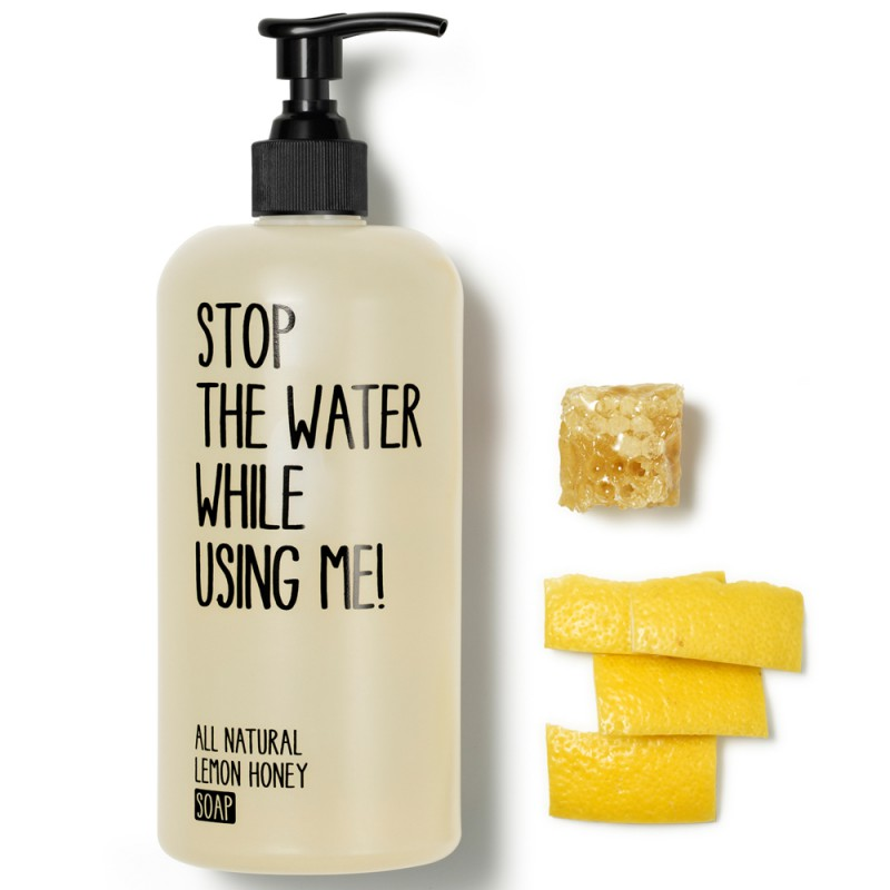 Stop the water while using me! All natural Lemon Honey Soap 500 ml