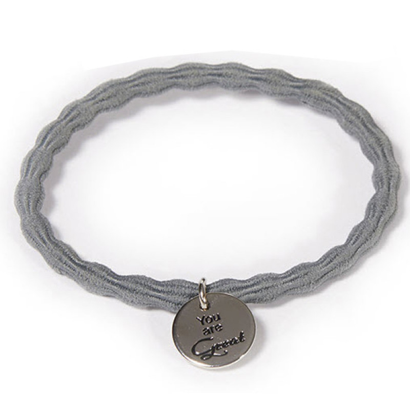 """Great Lengths Hair Tie twisted Grey """"You are Great"""""""