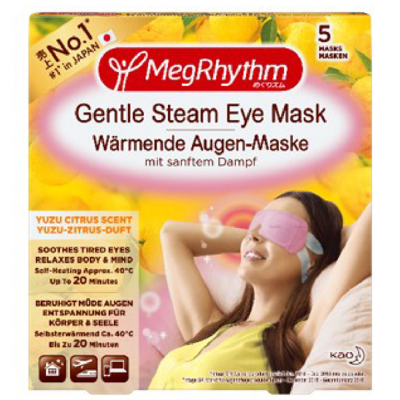 MegRhythm Wärmende Augen-Maske Yuzu-Zitrus-Duft 5 Stück